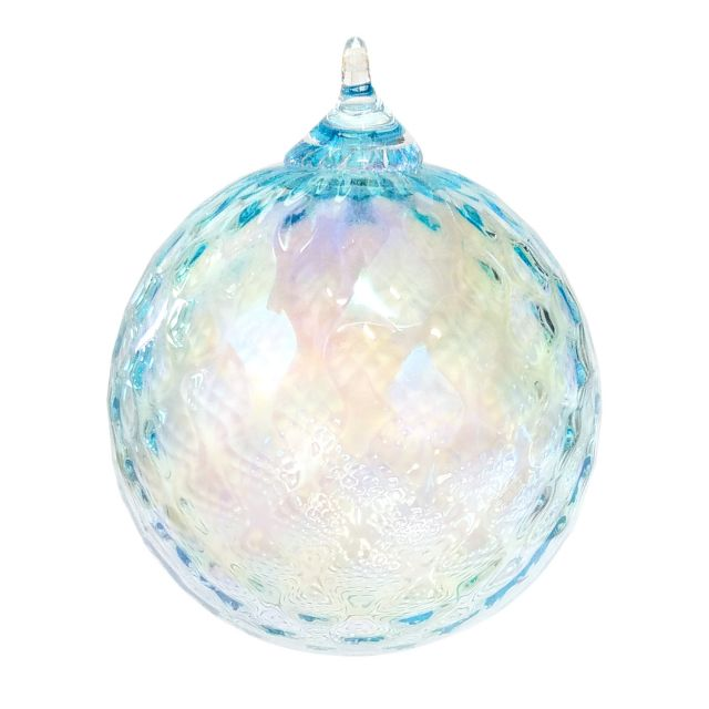 Mt. St. Helens Volcanic Ash Hand Blown Art Glass Ornament - Aquamarine Diamond - 3