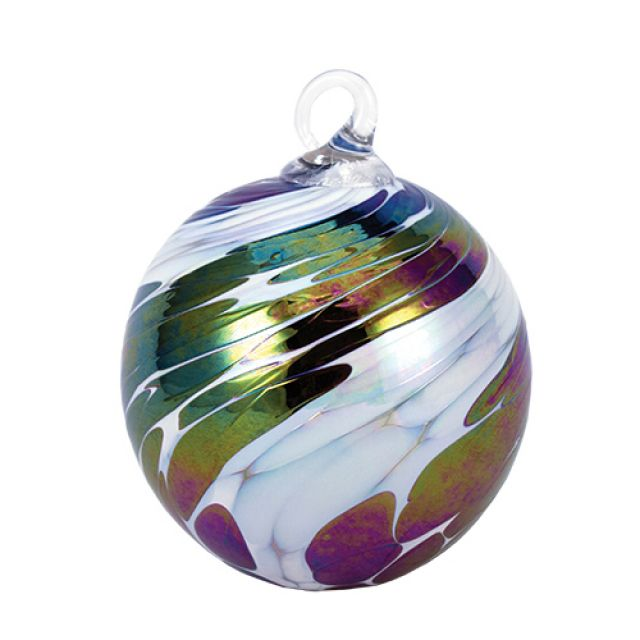 Mt. St. Helens Volcanic Ash Hand Blown Art Glass Ornament - Black Ice - 3'' diameter