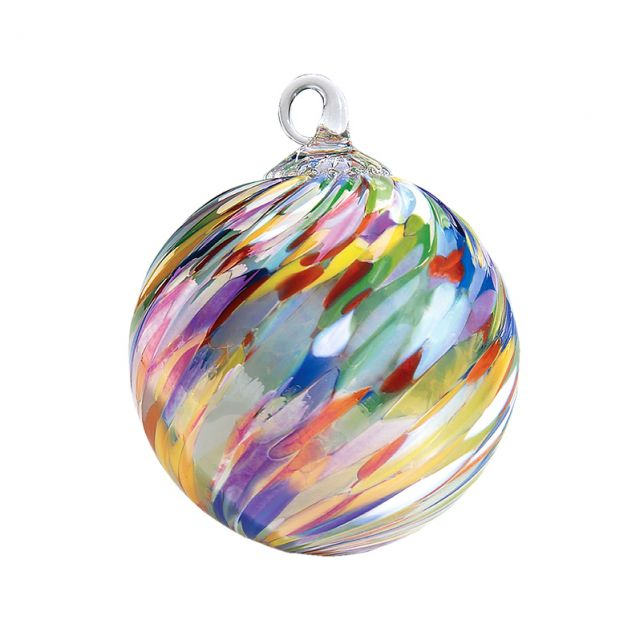 Mt. St. Helens Volcanic Ash Hand Blown Art Glass Ornament - Circus Twist - 3'' diameter