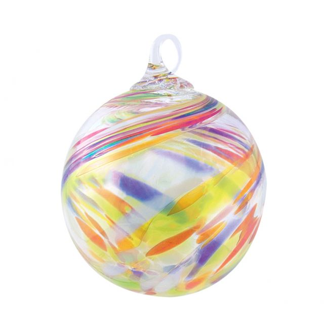 Mt. St. Helens Volcanic Ash Hand Blown Art Glass Ornament - Clown Feather - 3'' diameter