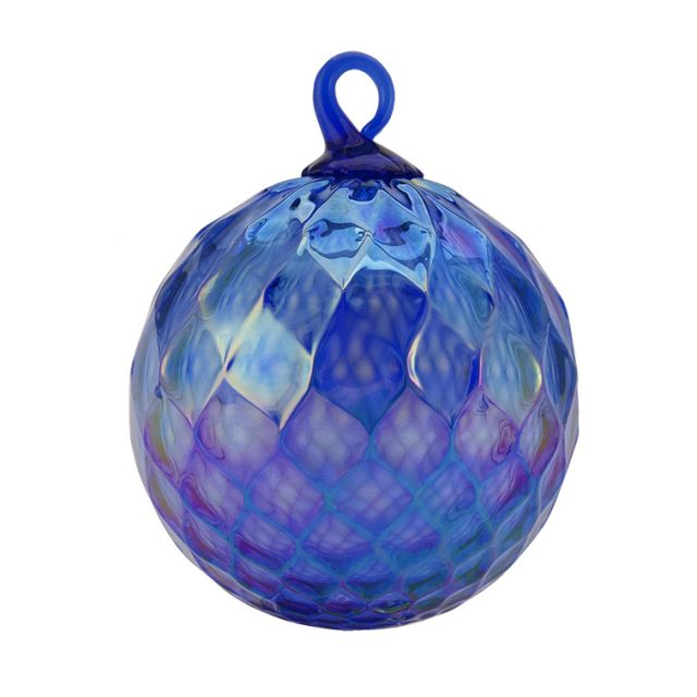 Mt. St. Helens Volcanic Ash Hand Blown Art Glass Ornament - Cobalt Diamond Facet - 3'' diameter