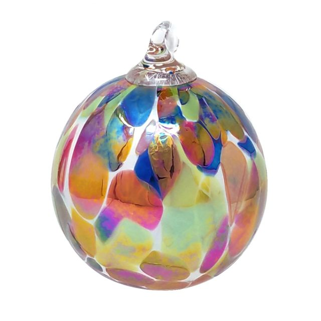 Mt. St. Helens Volcanic Ash Hand Blown Art Glass Ornament - Cornucopia Luster - 3'' diameter