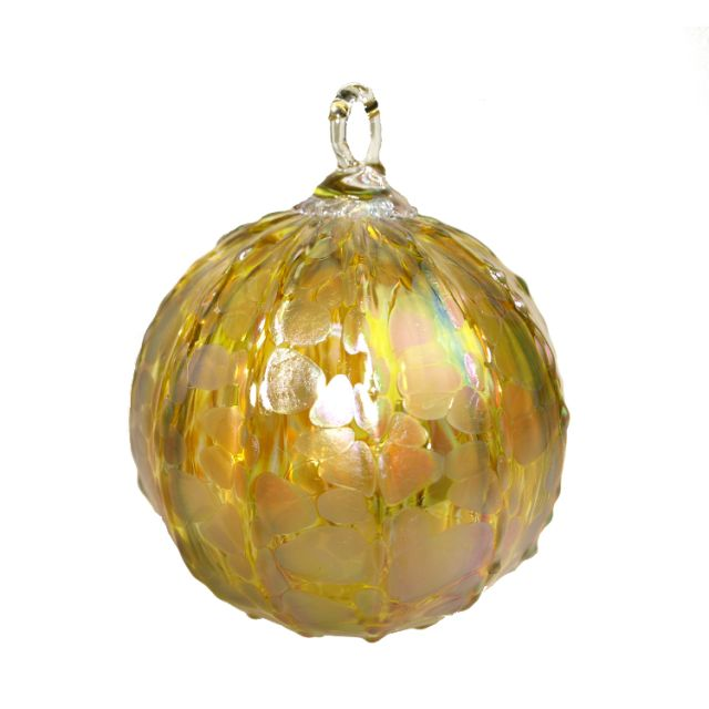 Mt. St. Helens Volcanic Ash Hand Blown Art Glass Ornament - Gold Luster - 3
