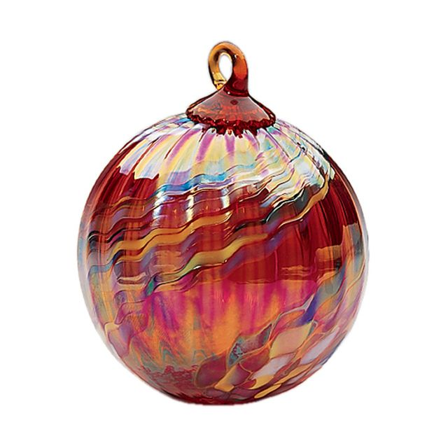 Mt. St. Helens Volcanic Ash Hand Blown Art Glass Ornament - Holiday Swirl - 3'' diameter