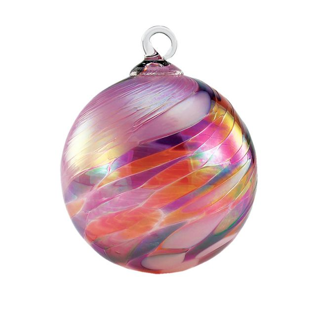 Mt. St. Helens Volcanic Ash Hand Blown Art Glass Ornament - Pink Feather Chip - 3'' diameter