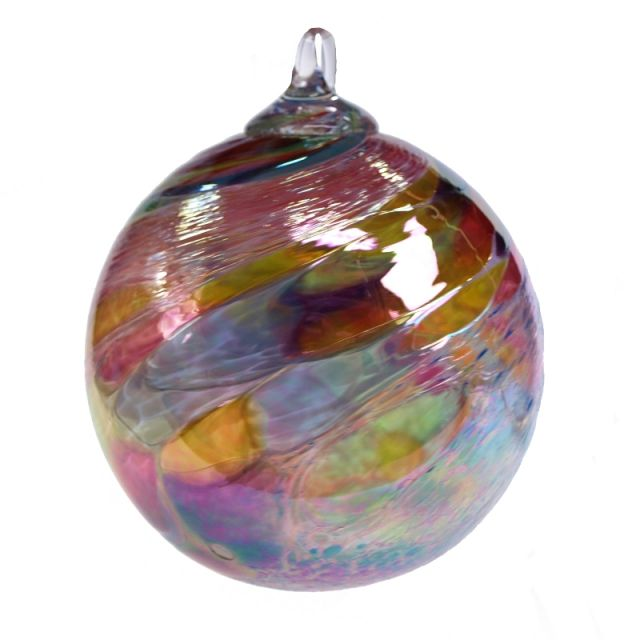 Mt. St. Helens Volcanic Ash Hand Blown Art Glass Ornament - Pink Monet - 3