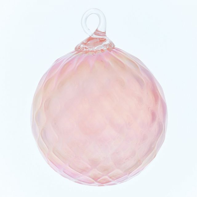 Mt. St. Helens Volcanic Ash Hand Blown Art Glass Ornament - Pink Opal Diamond- 3'' diameter