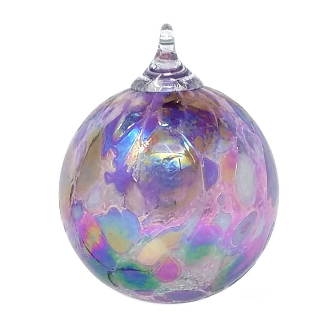 Mt. St. Helens Volcanic Ash Hand Blown Art Glass Ornament - Purple Pansy - 3'' diameter