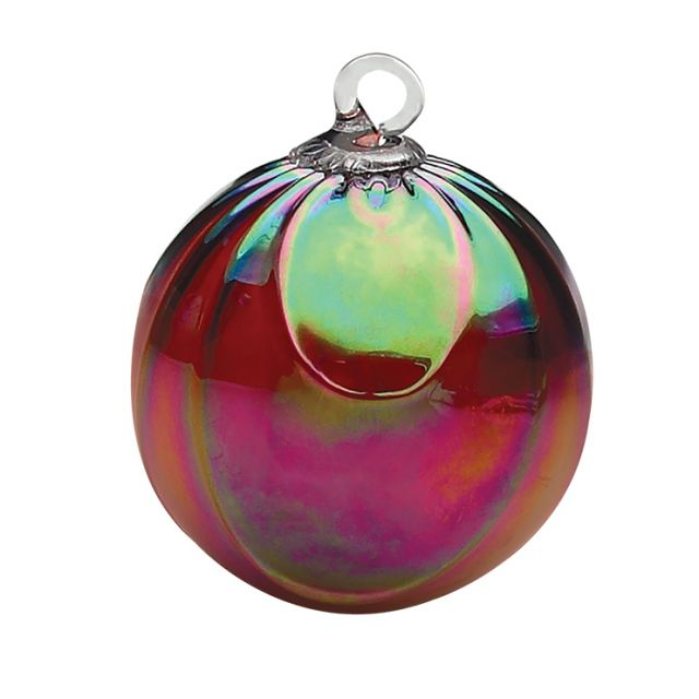 Mt. St. Helens Volcanic Ash Hand Blown Art Glass Ornament - Ruby Draped - 3'' diameter