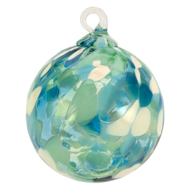 Mt. St. Helens Volcanic Ash Hand Blown Art Glass Ornament - Sea Glass - 3'' diameter