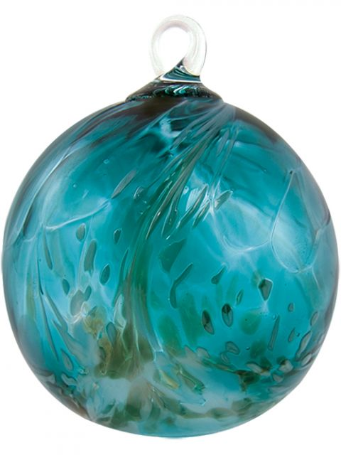 Mt. St. Helens Volcanic Ash Hand Blown Art Glass Ornament - Sea Spray - 3