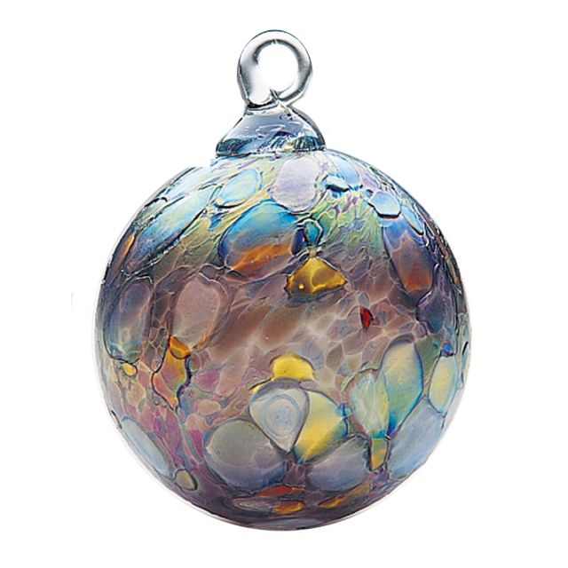 Mt. St. Helens Volcanic Ash Hand Blown Art Glass Ornament - Slate - 3'' diameter