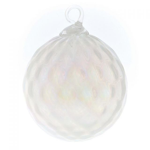 Mt. St. Helens Volcanic Ash Hand Blown Art Glass Ornament - Snow Pearl Diamond - 3