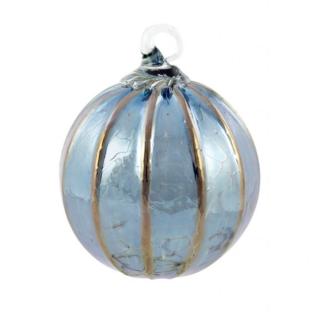 Mt. St. Helens Volcanic Ash Hand Blown Art Glass Ornament - Steel Blue - 3