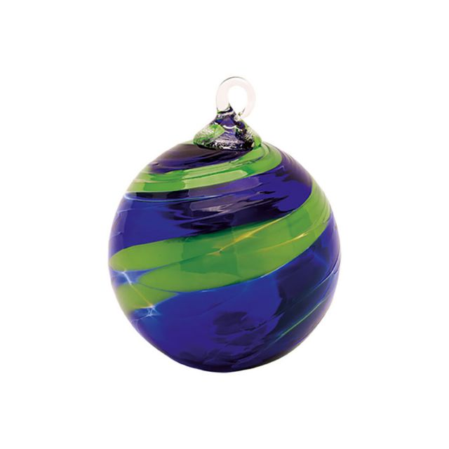Mt. St. Helens Volcanic Ash Hand Blown Art Glass Ornament - Sunday Blue - 3'' diameter
