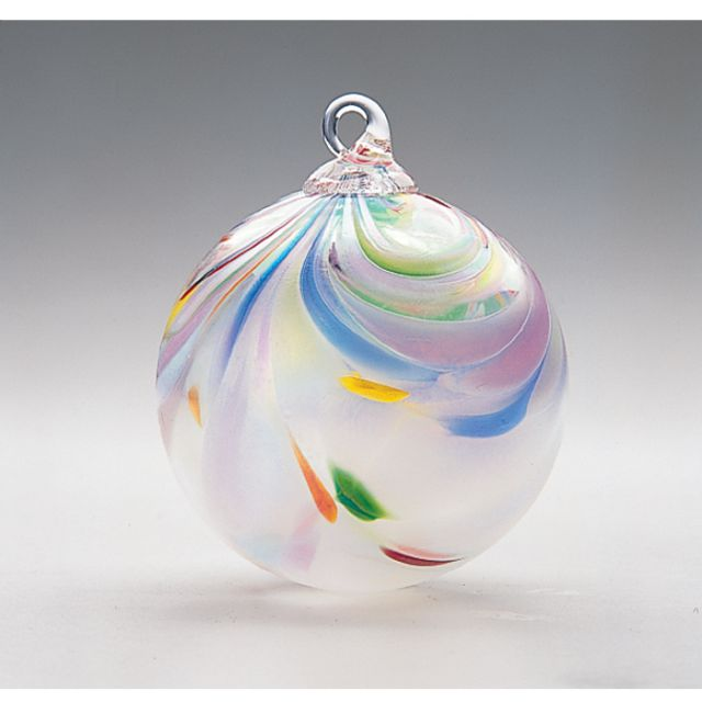 Mt. St. Helens Volcanic Ash Hand Blown Art Glass Ornament - Taffy - 3'' diameter