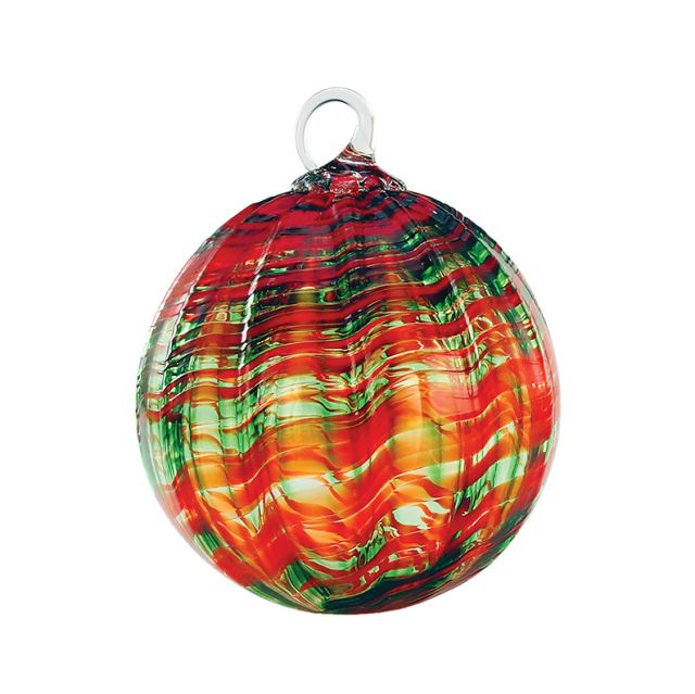 Mt. St. Helens Volcanic Ash Hand Blown Art Glass Ornament - Watermelon - 3