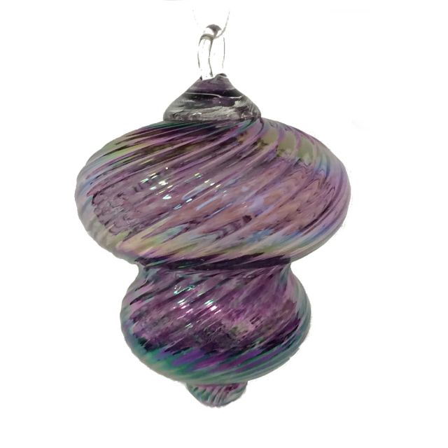 Mt. St. Helens Volcanic Ash Hand Blown Art Glass Vintage Ornament - Liz Violet - 3'' diameter
