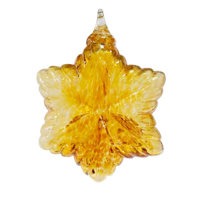 Mt. St. Helens Volcanic Ash Hand Blown Art Glass Vintage Star Ornament - Gold - 3.5'' diameter