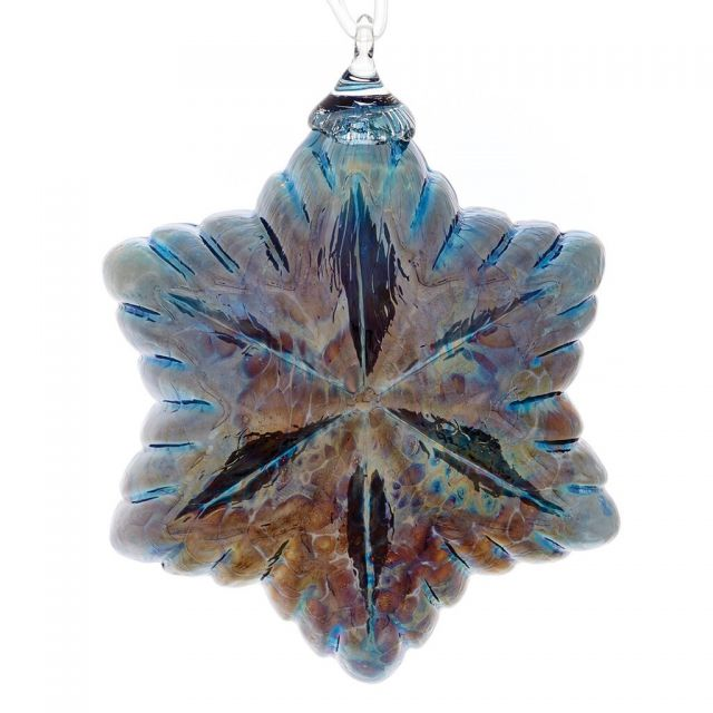 Mt. St. Helens Volcanic Ash Hand Blown Art Glass Vintage Star Ornament - Tinsel Blue - 3.5'' diameter