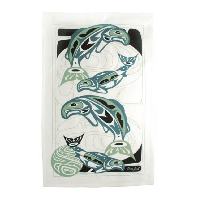 Native American - Circle of Life Salmon Design - Tea Towel