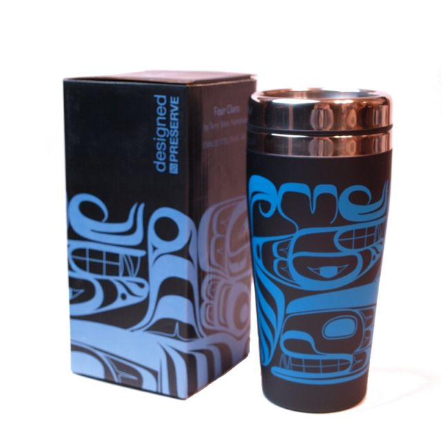 Native American Four Clans Design Insulated Travel Mug - 7'' x 3.5''