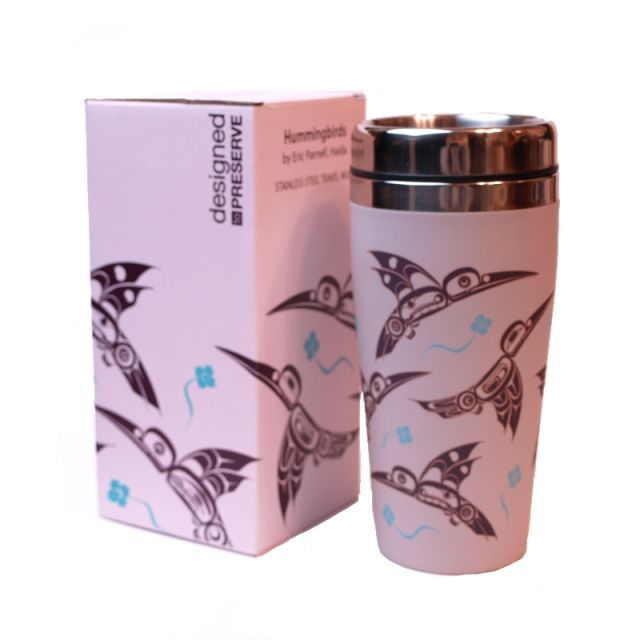 Native American Hummingbird (Pink) Design Insulated Travel Mug - 7'' x 3.5''