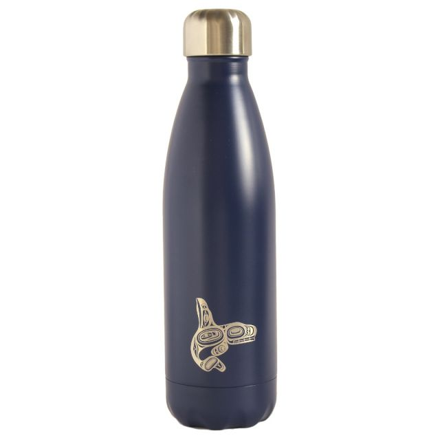 Native American Insulated Water Bottle - Whale (Blue) 16 oz