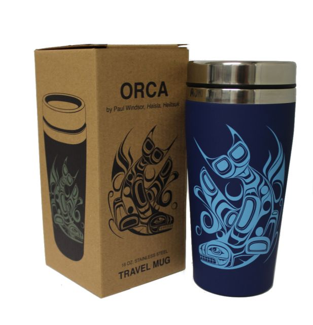Native American Orca Diving Design Insulated Travel Mug - 7'' x 3.5''
