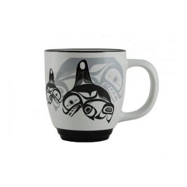 Native American Orca Whale Design Mug (black/white)