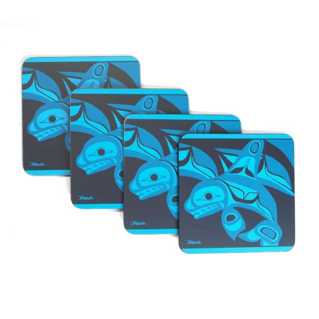 Native American Orca Whale Design Set of 4 Coasters (turquoise)