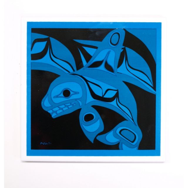 Native American Orca Whale Design Trivet (turquoise)