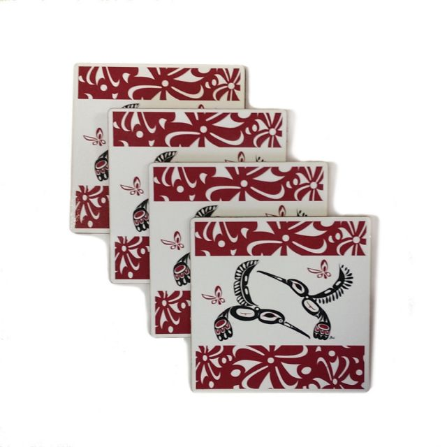 Native American - Set of 4 Hummingbird Coasters (maroon)