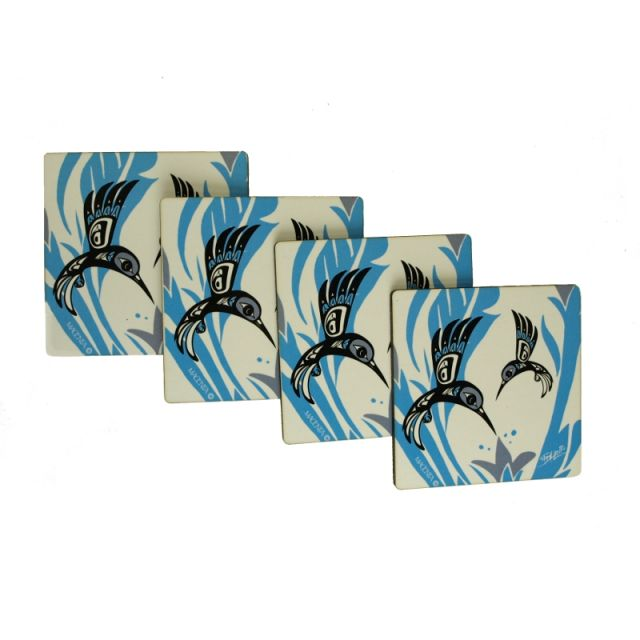 North Coast Indian Hummingbird Design (Blue) - Set of 4 Coasters - by Tsimshian native artist Bill Helin