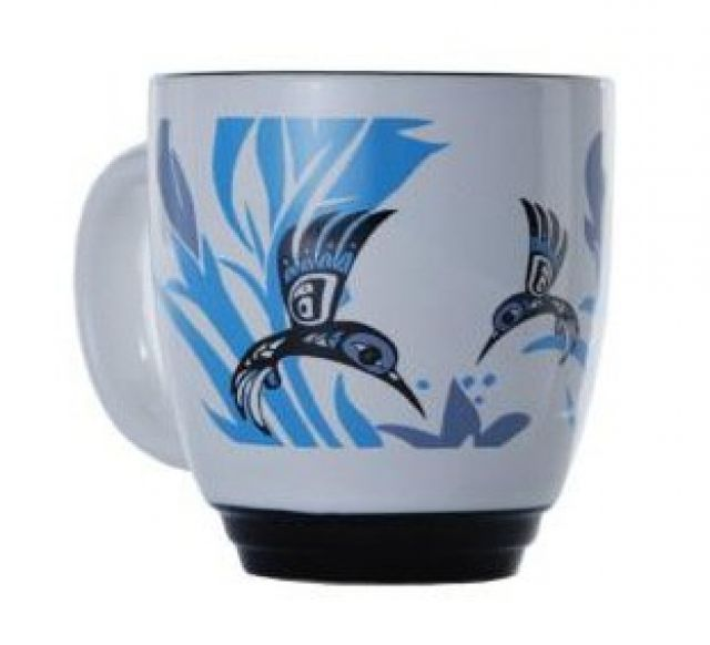 North Coast Indian Hummingbird Design Mug (Blue) - by Tsimshian native artist Bill Helin