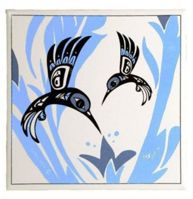 North Coast Indian Hummingbird Design Trivet (Blue)
