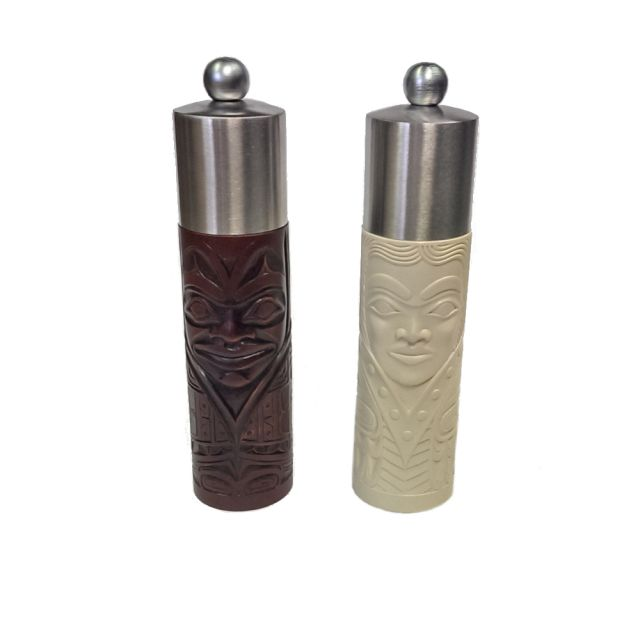 North Coast Indian Ivory Princess Salt and Rosewood Chief Pepper Shakers - 8