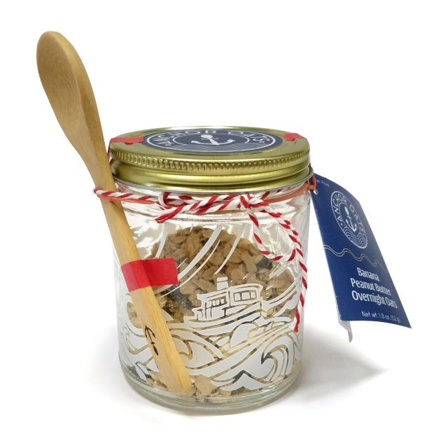 Overnight Oats Single Serving Gift Jar & Spoon - Banana Peanut Butter - 1.8oz