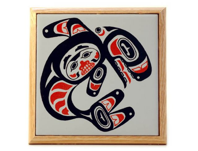 Pacific Northwest Coast Native American Ceramic Tile Orca Trivet - 7