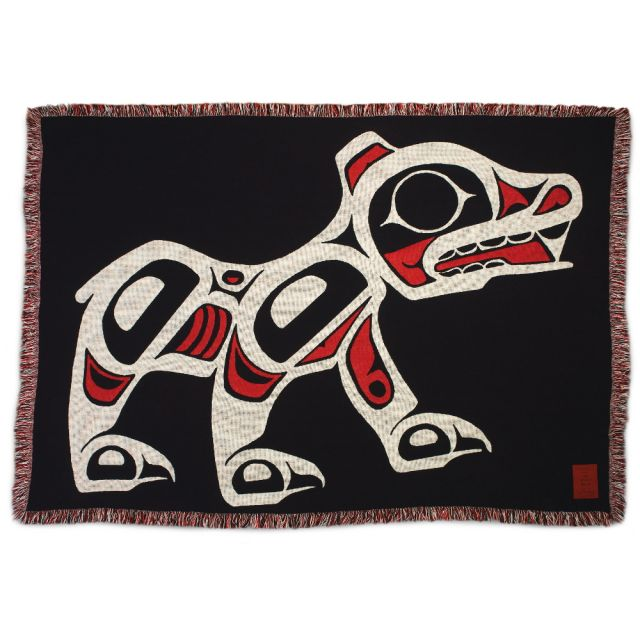 Pacific Northwest Coast Native American - The Spirit Bear - Cotton Throw Blanket - by Joe Mandur Jr - approx: 48