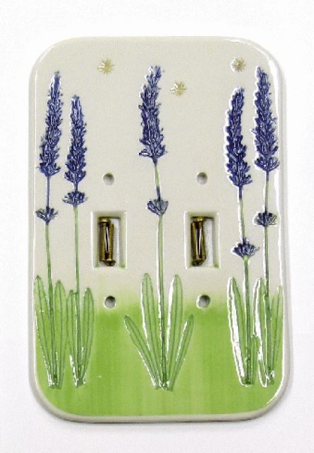 Porcelain Pottery Lavender Double Light Switch Cover Plate - By Mike and Donna Day