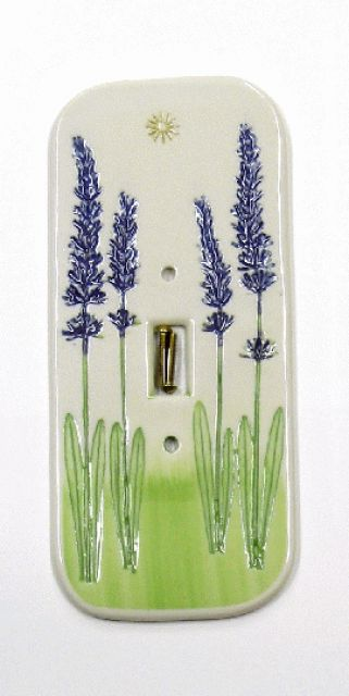 Porcelain Pottery Lavender Single Light Switch Cover Plate - By Mike and Donna Day