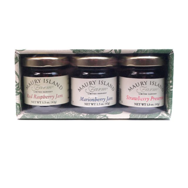 Raspberry, Strawberry, and Marionberry Jam - Trio Sampler - Maury Island Farms - 4.5oz
