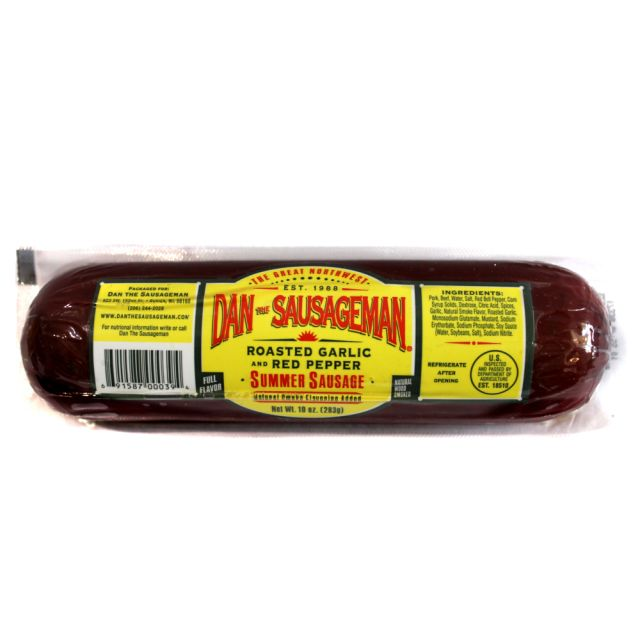 Summer Sausage - Roasted Garlic and Red Pepper - Dan The Sausageman