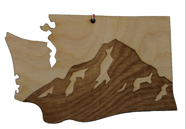 Washington Mt. Rainier Wood Ornament