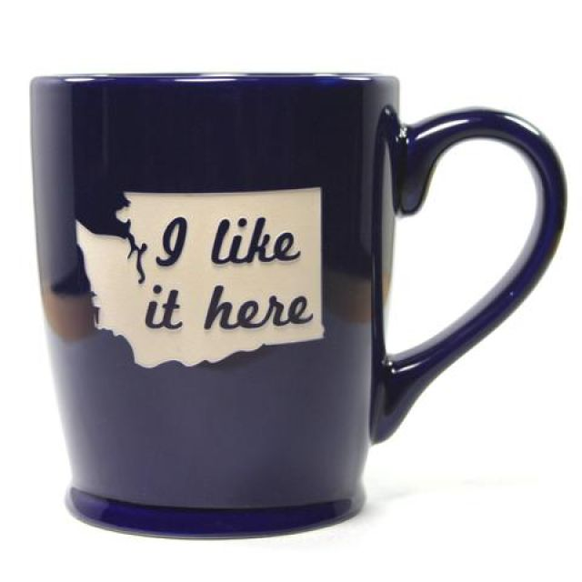 Washington State - I Like It Here Mug - Navy Blue